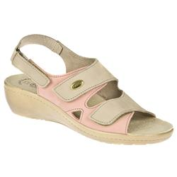 Female Fran Leather Upper Leather Lining All Sandals in Khaki Multi, Salmon Multi
