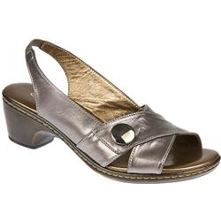Drew Leather Sandals in Pewter