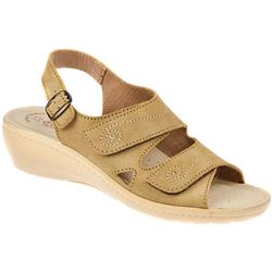 Charlize Suede Upper Leather Lining Sandals in Sand
