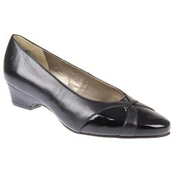 Petal - EEE Fit Leather Upper Court Shoes in Black, Stone Fabric