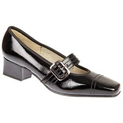 E Fit Shoe Leather Upper Court Shoes in Black Patent, Navy
