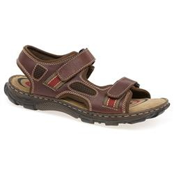 HSKA1302 Leather Sandals in Brown, Navy