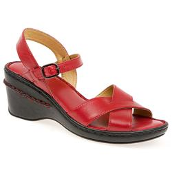 Female HSKA1310 Leather Upper Leather Lining All Sandals in Red