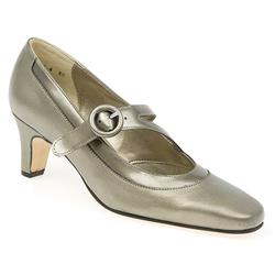 E Fit Shoe Leather Upper Court Shoes in Pewter