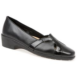 HSKA1306 Leather Upper Leather/Textile Lining Low to Mid Heels in Black Combi