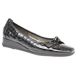 Barbados Leather Upper Low to Mid Heels in Black Patent Croc