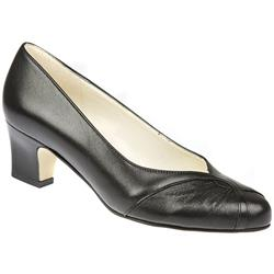 Monique - E Fit Leather Upper Court Shoes in Black Patent