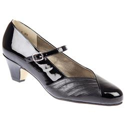 Megan - E Fit Leather Upper Court Shoes in Black Patent