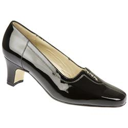 E Fit Shoe Leather Upper Court Shoes in Black Patent