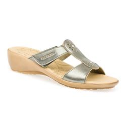 FLY1506FP Leather Adjustable Mules in Metallic, White