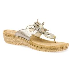HSFLY1504 Leather Sandals in Beige Metallic