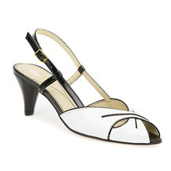 HSVD1500 Sandals in White-Black Patent