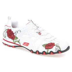 Biker - Flower Girl Leather/Textile Comfort Small Sizes in White-Red