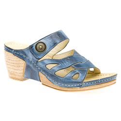 KARY1501 Leather Sandals in Denim Blue, Red