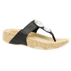 HSSKE1558 Leather Upper Textile Lining Sandals in Black, White