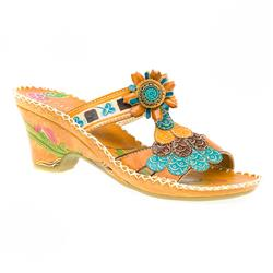 Female VIT1354 Leather Upper All Sandals in Tan Multi
