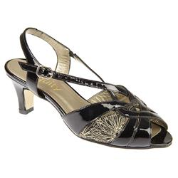 E Fit Shoe Leather Upper Sandals in Black Patent