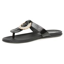 GF1510 Leather Sandals in Black Patent, White Patent