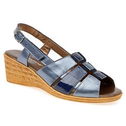 JES1101 Leather Sandals in Bronze, Navy
