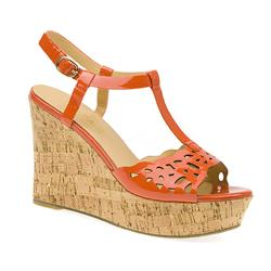 BEL15056 Leather Upper Sandals in Orange Patent