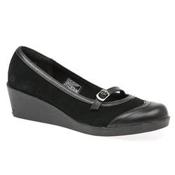 SKE1600 Leather Upper Textile Lining Casual Shoes in Black