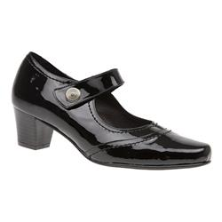 HSANC1600 Leather Low to Mid Heels in Black, Black Patent