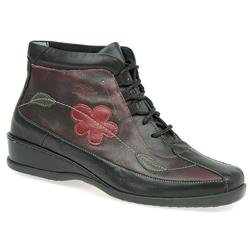 CALFLY1008 Leather Upper Textile Lining Boots in Black-Pewter, Burgundy Multi, Navy - Purple