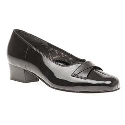 PEK406 Leather Low to Mid Heels in Black Croc, Black Patent