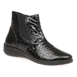 IMAC1604 Leather Boots in Black Croc