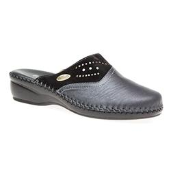MENE1602 Leather Clogs in Black