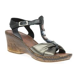 HSFLY1701 Leather Sandals in Black-Pewter