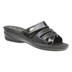 SAN1704 Leather Adjustable Mules in Black, Pewter, Red