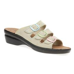 POLYFLY1700 Suede Upper Leather Lining Adjustable Mules in Beige Multi, Black-Multi, Navy Multi
