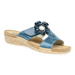 HSMEFLY1701 Leather Adjustable Mules in Blue, White