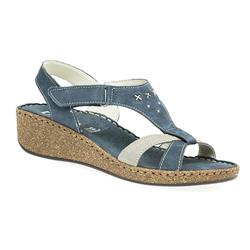 HSMEFLY1706 Leather Sandals in Blue, Taupe