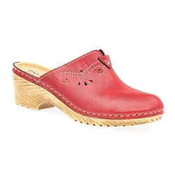 IN1713 Leather Lining Clogs in Red, Tan