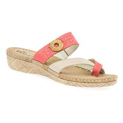 HSMEFLY1702 Leather Sandals in Camel-Beige, Red-Beige