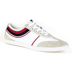 GOLA1701 Leather/Textile in White-Red