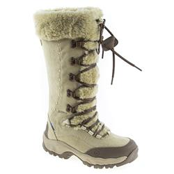 HIT1607 Leather Upper Textile Lining Boots in Cream-Brown