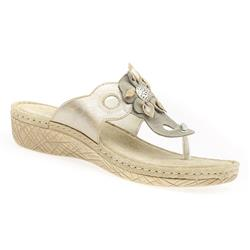 HSMEFLY1704 Leather Sandals in Beige-Metalic, Black