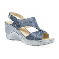 ZEN1705 Leather Sandals in Blue, Camel
