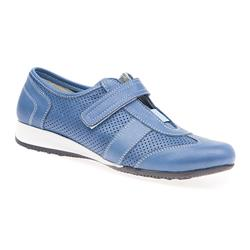 SNI1700 Leather Flats in Denim, White