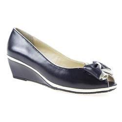 VD1706 Leather Upper Low to Mid Heels in Navy-White, Off White-Gold