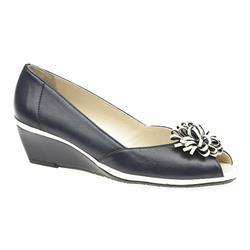 VD1704 Leather Upper Low to Mid Heels in Navy-White, Taupe-White