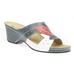GF1707 Leather Sandals in Blue Combination, White Shimmer
