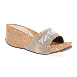 STKK1701 Leather Sandals in Black, Taupe