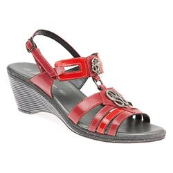 JES1702 Leather Sandals in Pewter, Red