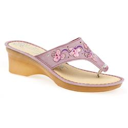 HSFLY1326 Leather Sandals in Lilac, Turquoise