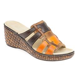 KARY1705 Leather Sandals in Brown Multi, Denim-Tan