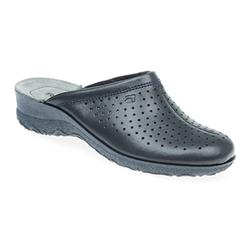 ROH17-1926 Leather Clogs in Navy, White